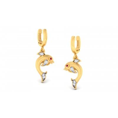Dolphin Diamond Earring