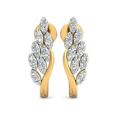 Curved Diamond Bali Earring
