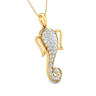 Digital Ganesh Diamond Pendant