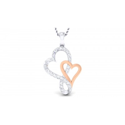 Double Heart Diamond Pendent
